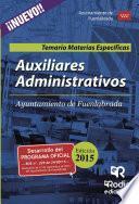 Auxiliares Administrativos Del Ayuntamiento De Fuenlabrada. Temario Materias Específicas