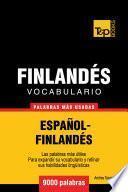 libro Vocabulario Español Finlandés   9000 Palabras Más Usadas