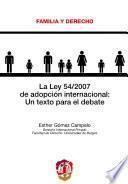 libro La Ley 54/2007 De Adopción Internacional