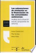 libro Las Subvenciones De Nivelación En La Financiación De Las Comunidades Autónomas
